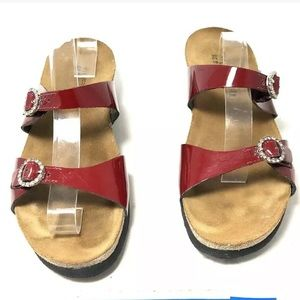 Naot Kate Women's Red Patent Leather Slide Sandals